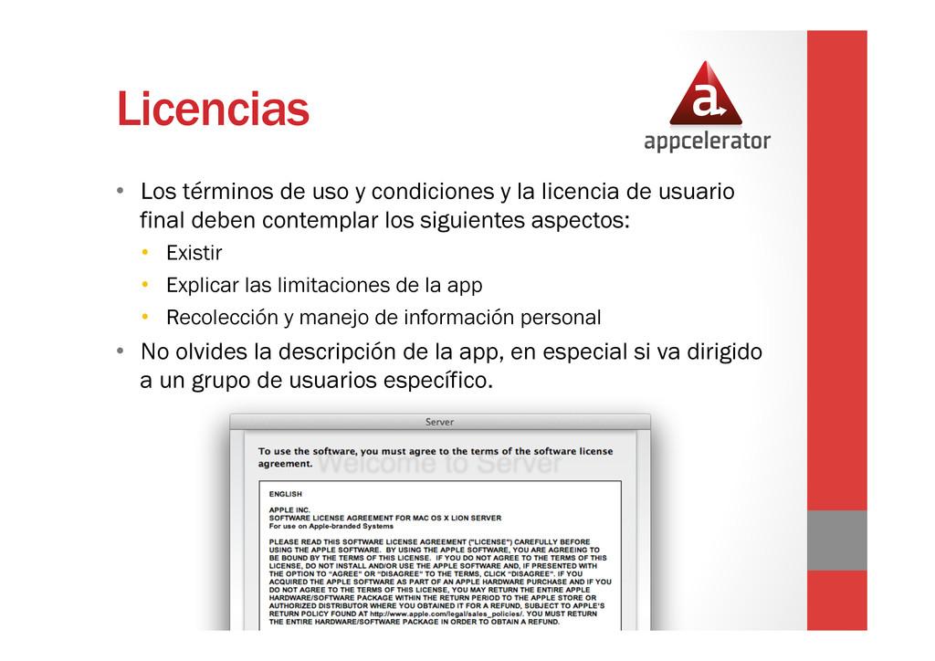 Licencias • Los términos de uso y condiciones ...