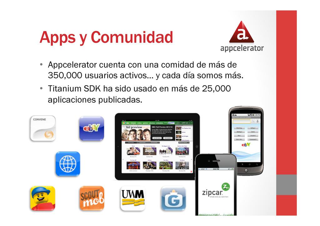 Apps y Comunidad • Appcelerator cuenta con una...