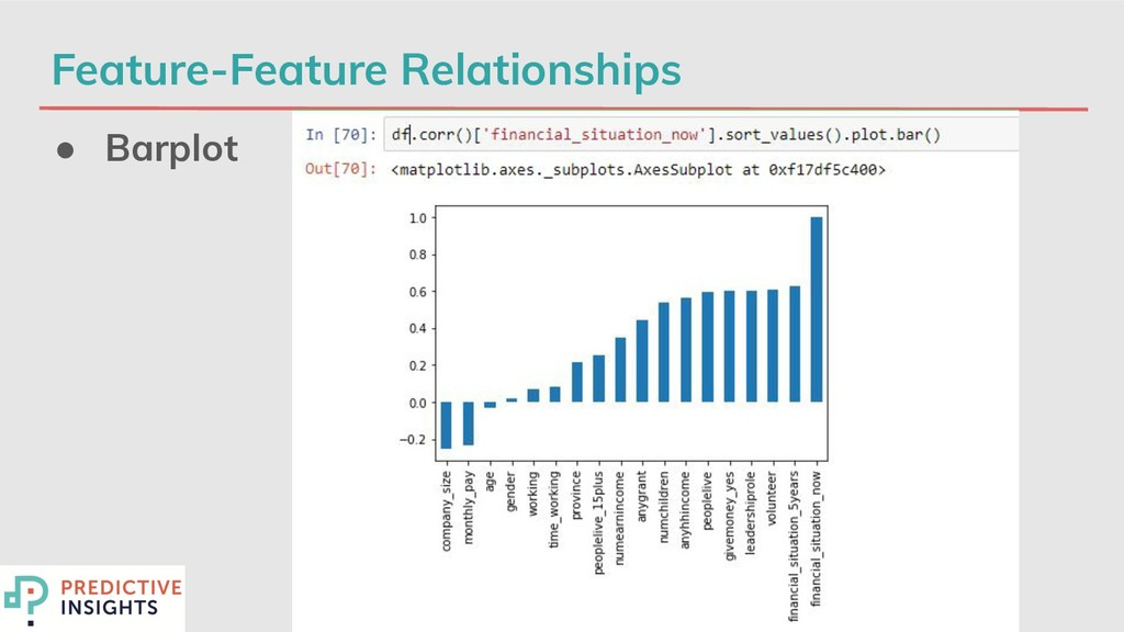 Feature-Feature Relationships ● Barplot