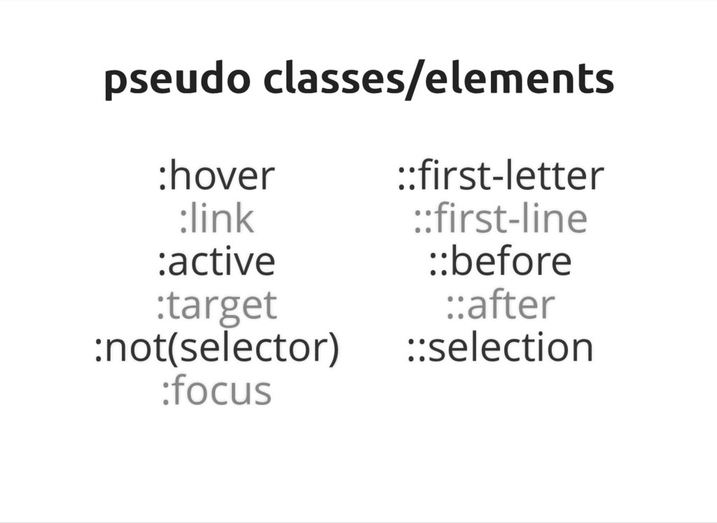 pseudo classes/elements pseudo classes/elements...
