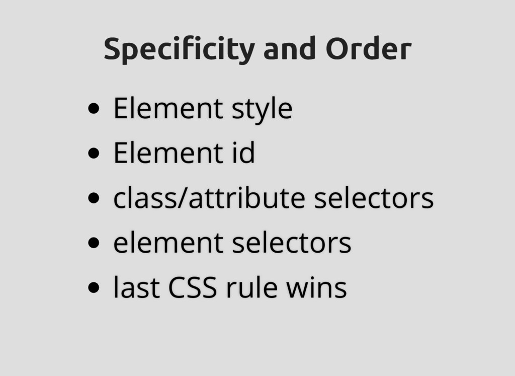 Specificity and Order Specificity and Order Ele...