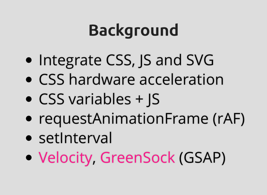 Background Background Integrate CSS, JS and SVG...