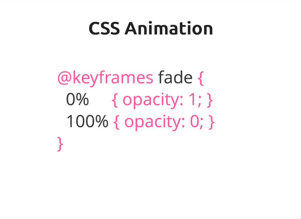 CSS Animation CSS Animation @keyframes fade { 0...