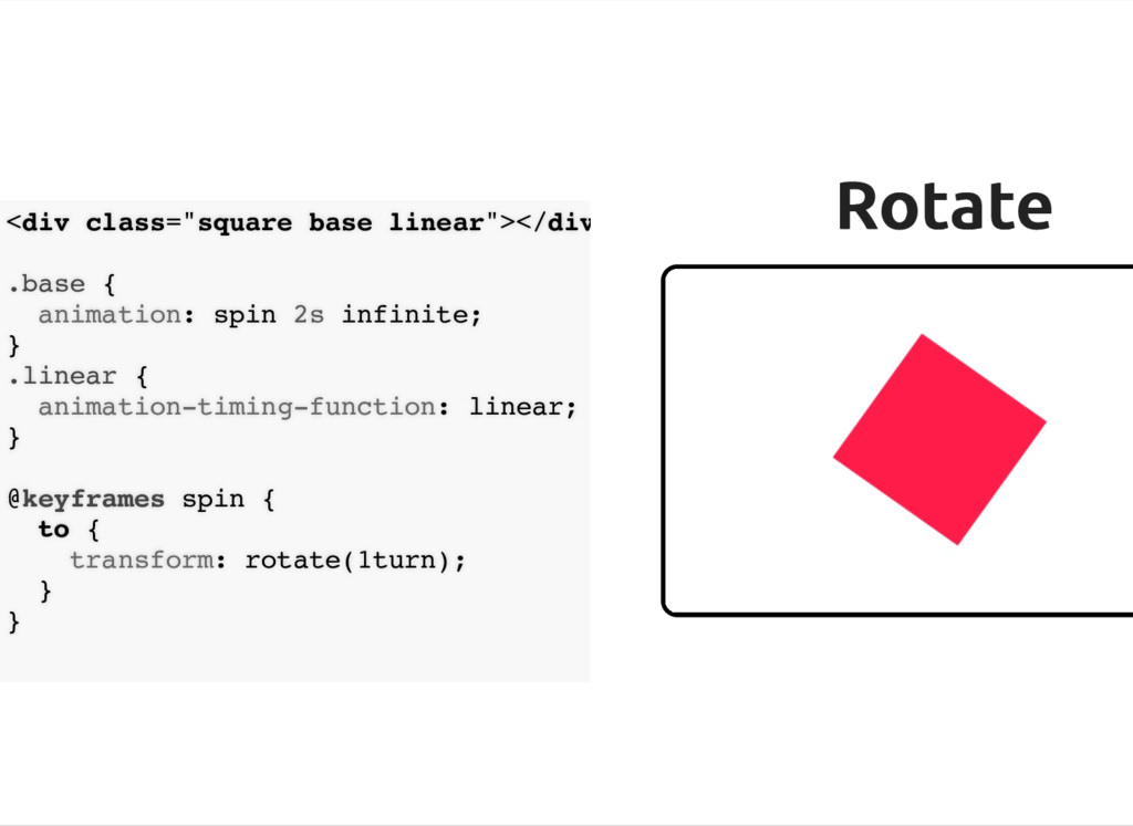 """Rotate Rotate <div class=""""square base linear""""><..."""