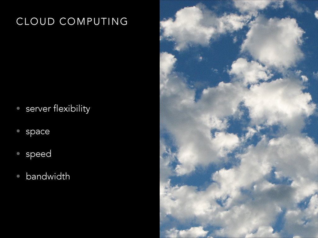 CLOUD COMPUTING • server flexibility • space • ...