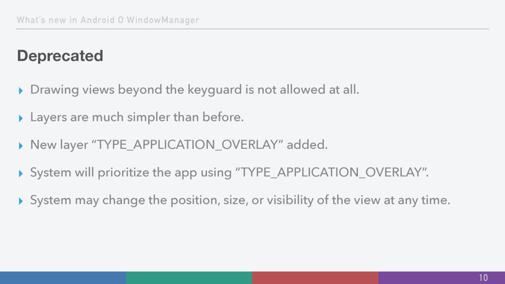 What's new in Android O WindowManager Deprecate...