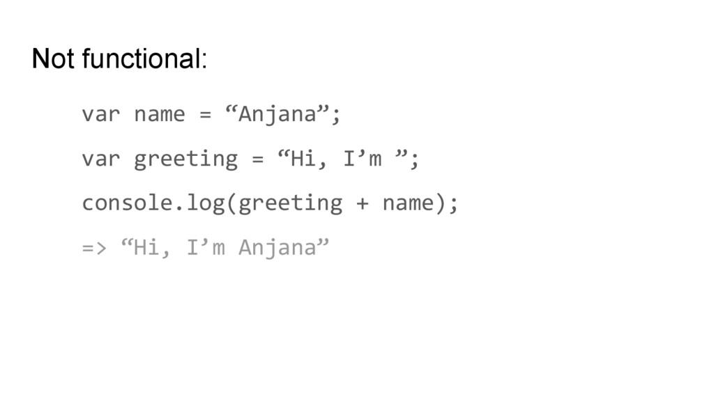 "Not functional: var name = ""Anjana""; var greeti..."
