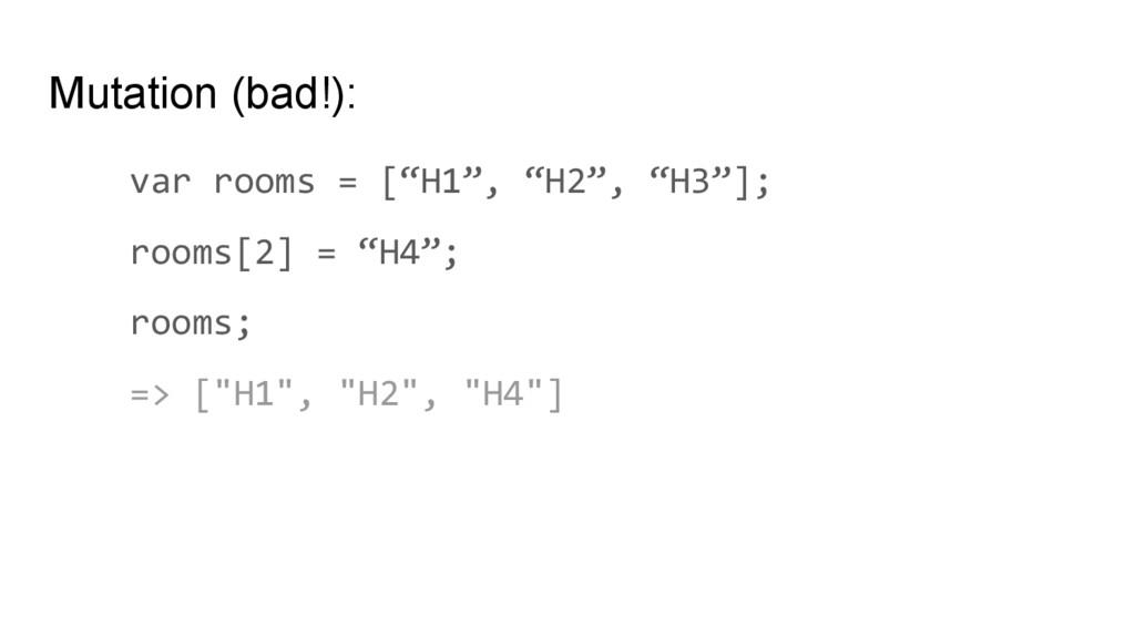 """Mutation (bad!): var rooms = [""""H1"""", """"H2"""", """"H3""""]..."""