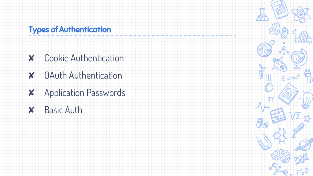 Types of Authentication ✘ Cookie Authentication...