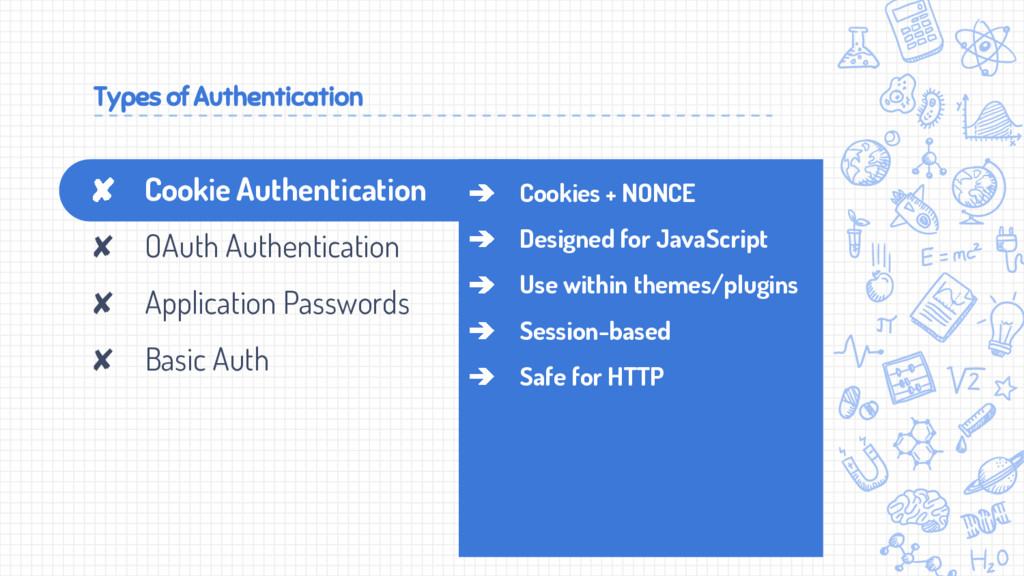 Types of Authentication ➔ Cookies + NONCE ➔ Des...