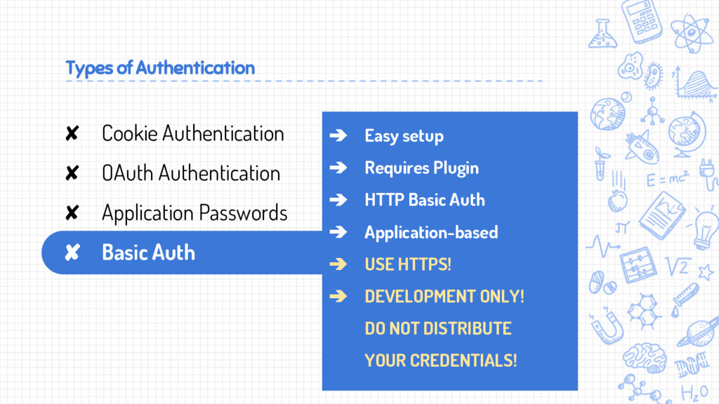 Types of Authentication ➔ Easy setup ➔ Requires...