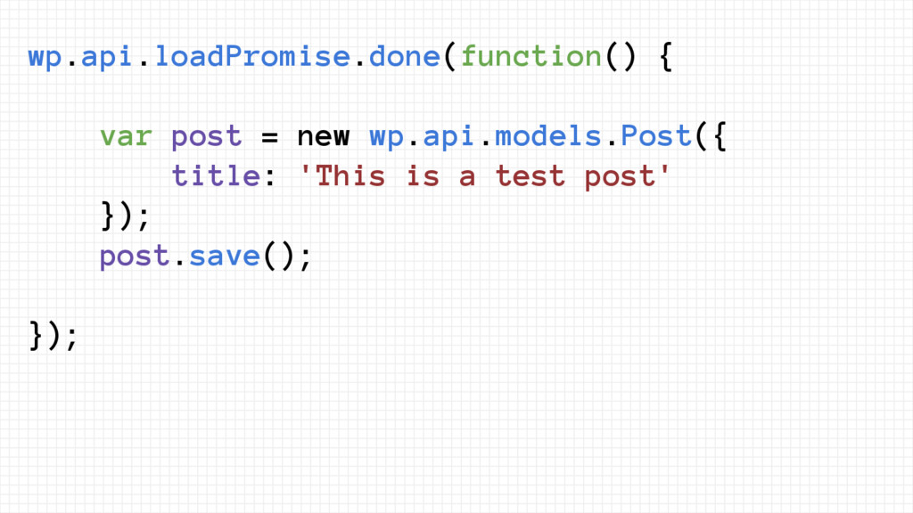 wp.api.loadPromise.done(function() { var post =...