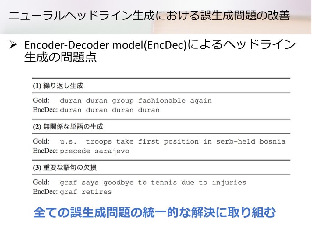 ニューラルヘッドライン⽣成における誤⽣成問題の改善 Ø Encoder-Decoder mod...