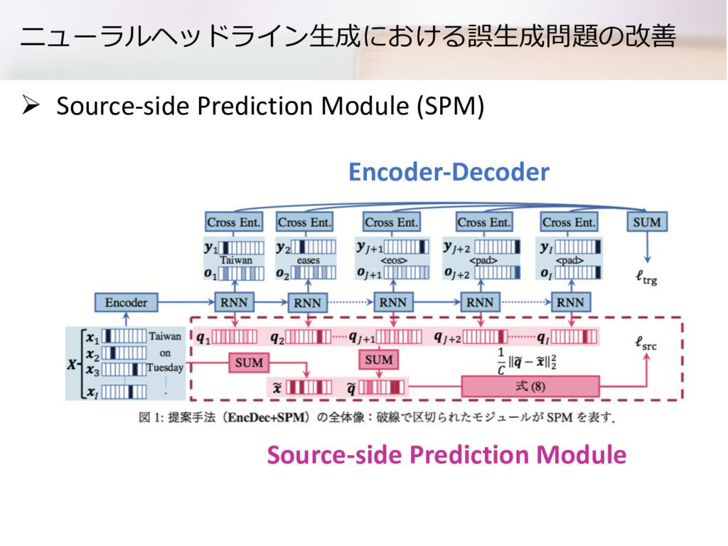 ニューラルヘッドライン⽣成における誤⽣成問題の改善 Ø Source-side Predict...