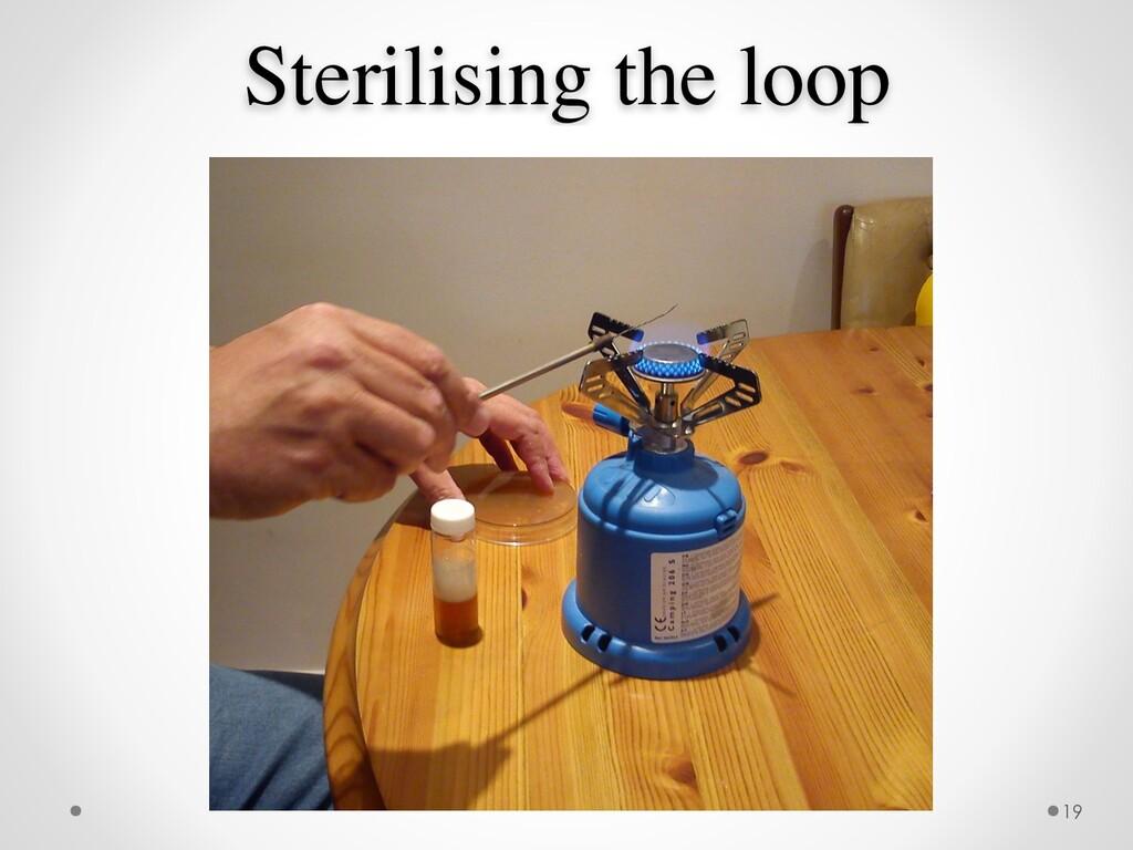 Sterilising the loop 19
