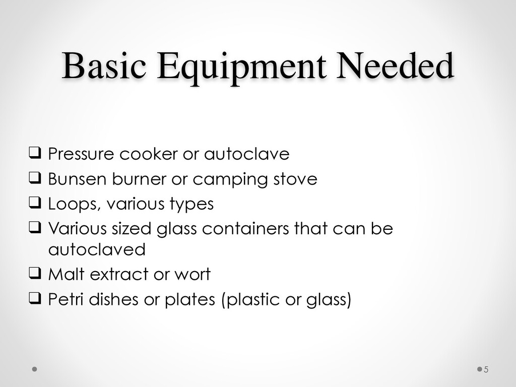 Basic Equipment Needed ❑ Pressure cooker or aut...