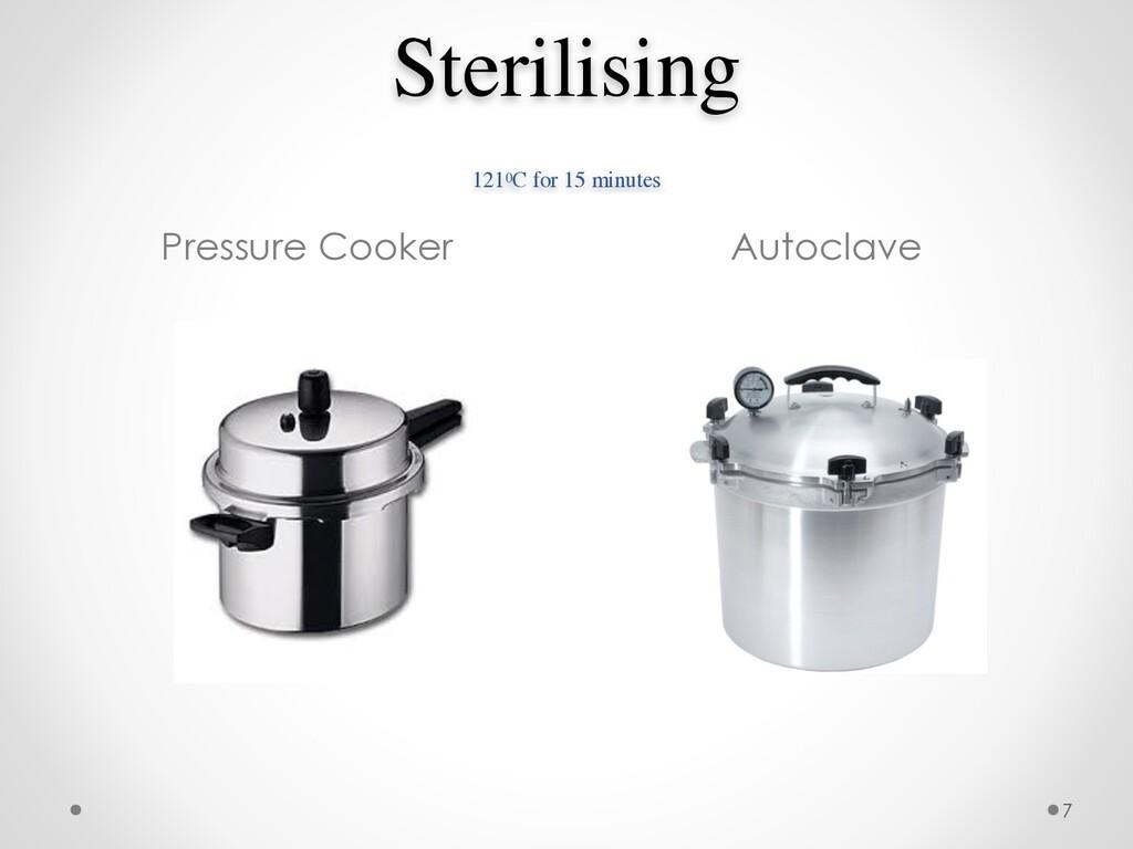 Sterilising  1210C for 15 minutes Pressure Coo...