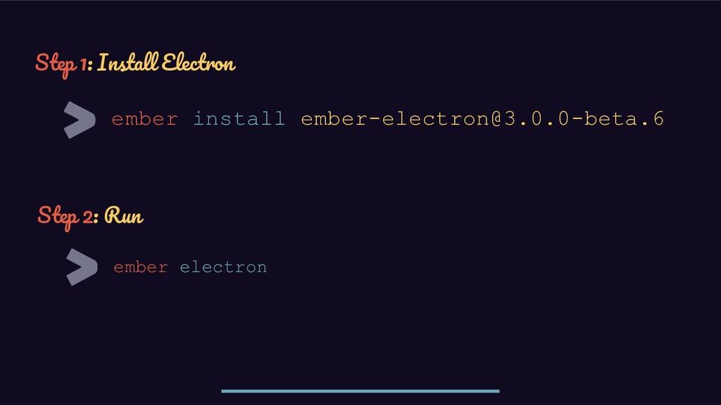ember install ember-electron@3.0.0-beta.6 Step ...