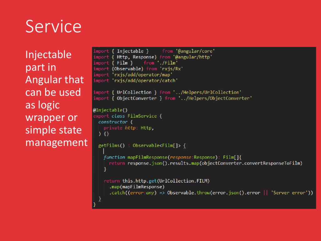 Service Injectable part in Angular that can be ...