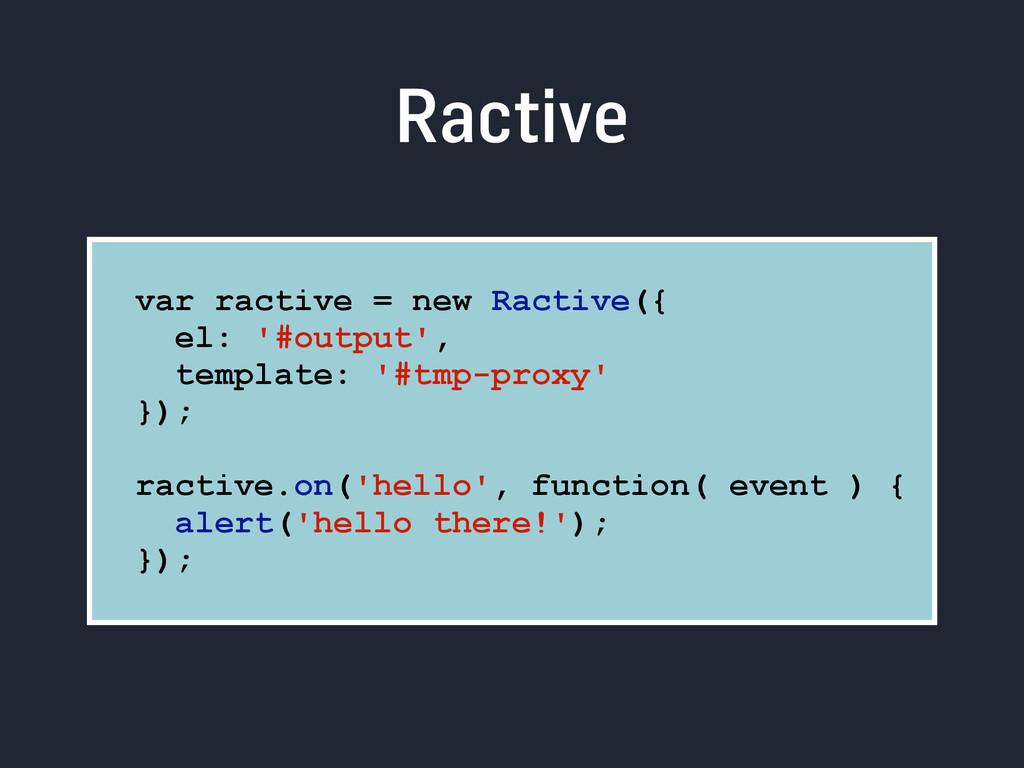 Ractive var ractive = new Ractive({ el: '#outpu...