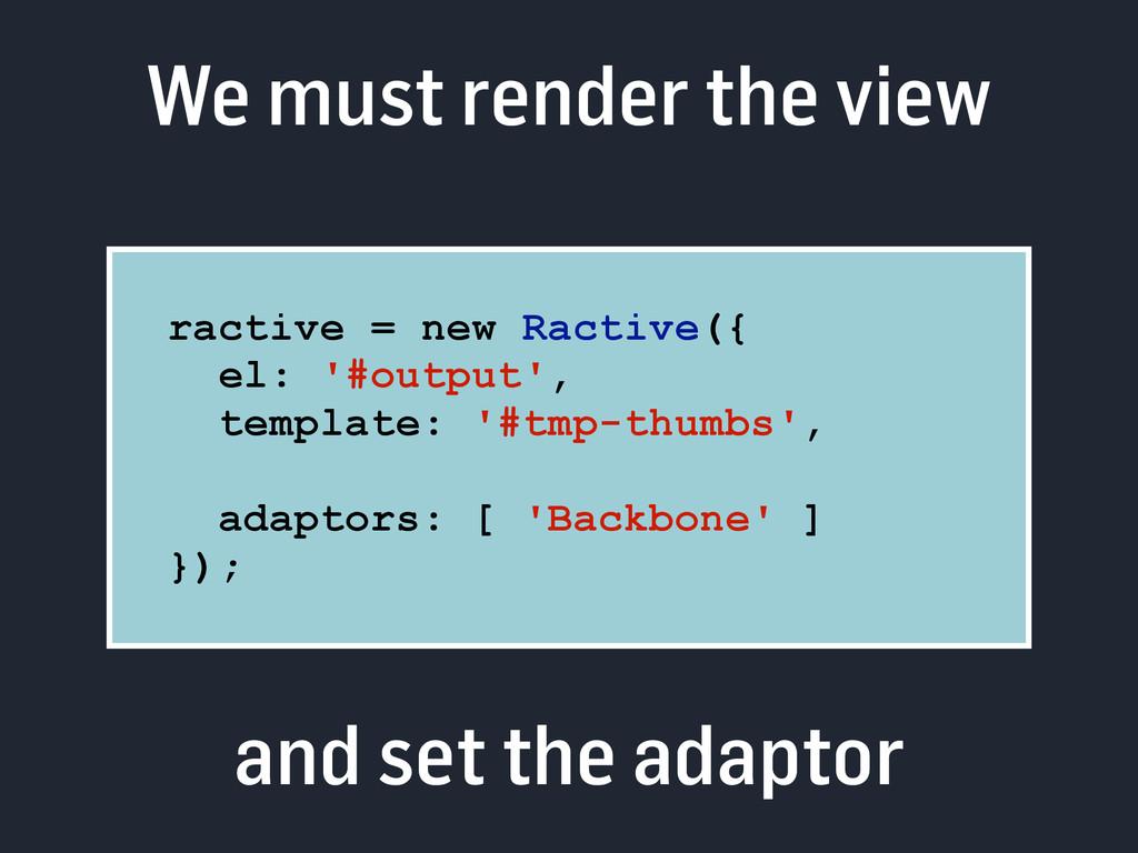 We must render the view ractive = new Ractive({...