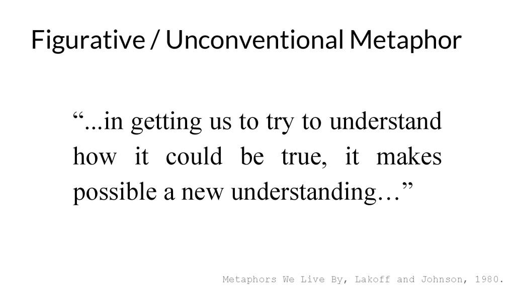 Figurative / Unconventional Metaphor Metaphors ...