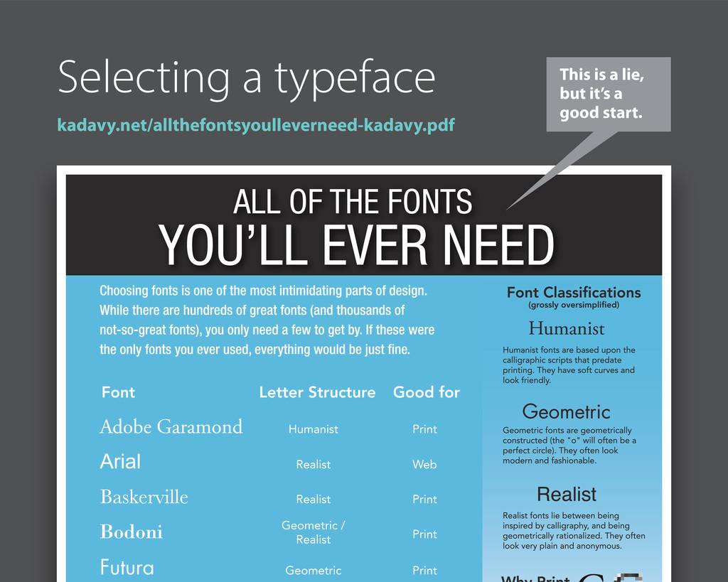 Selecting a typeface kadavy.net/allthefontsyoul...