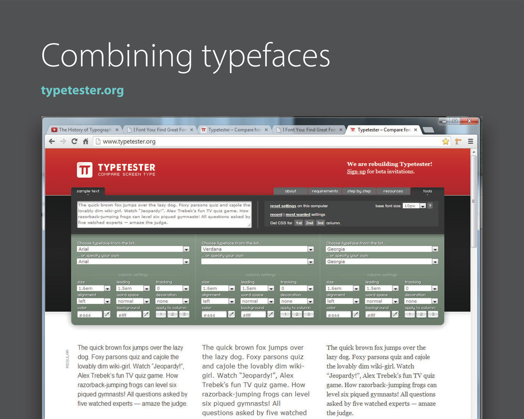 Combining typefaces typetester.org