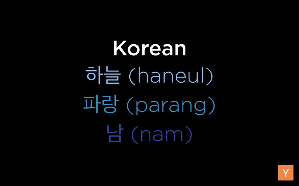 Korean ೞט (haneul) ی (parang) թ (nam)