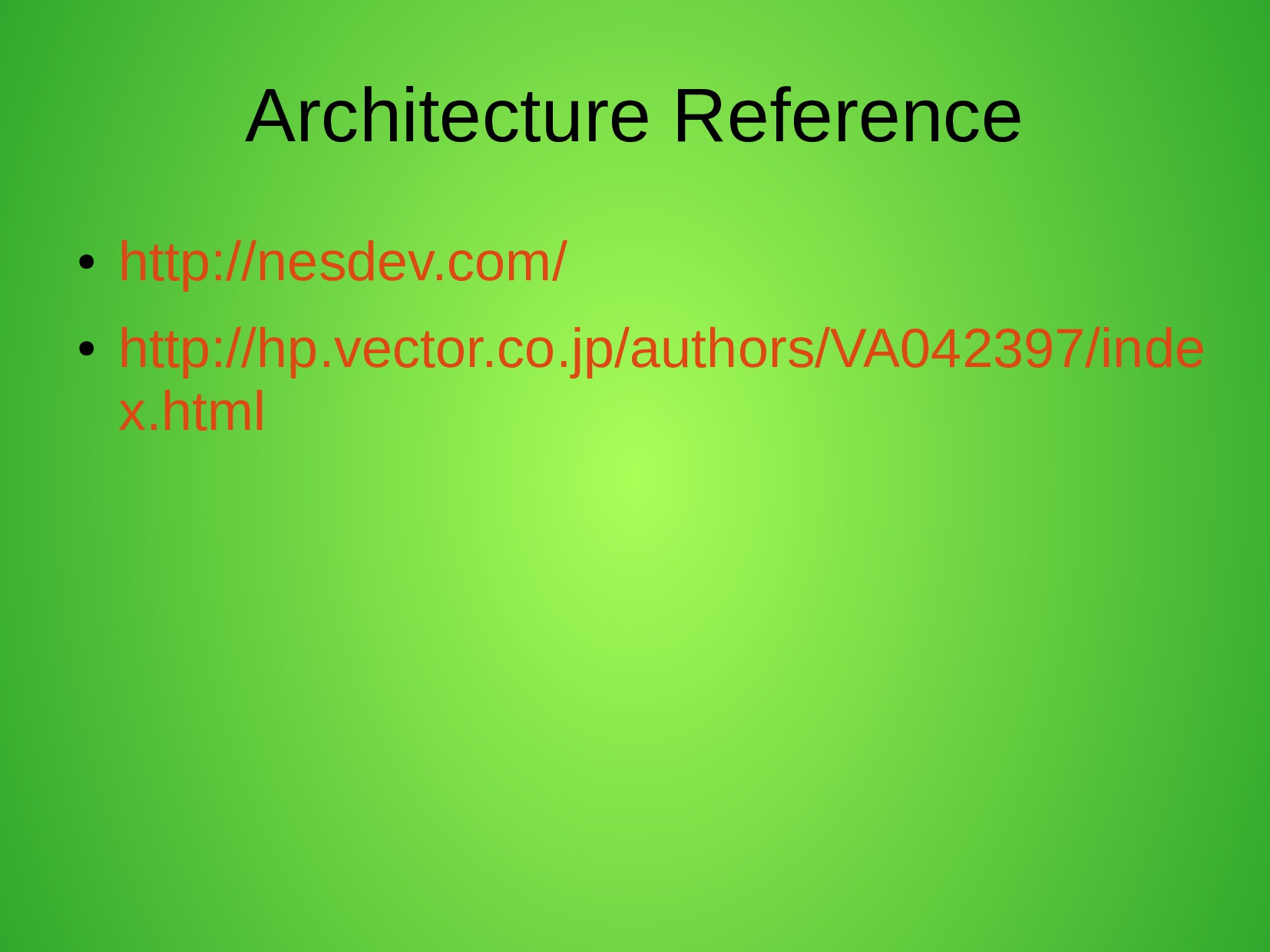 Architecture Reference ● http://nesdev.com/ ● h...