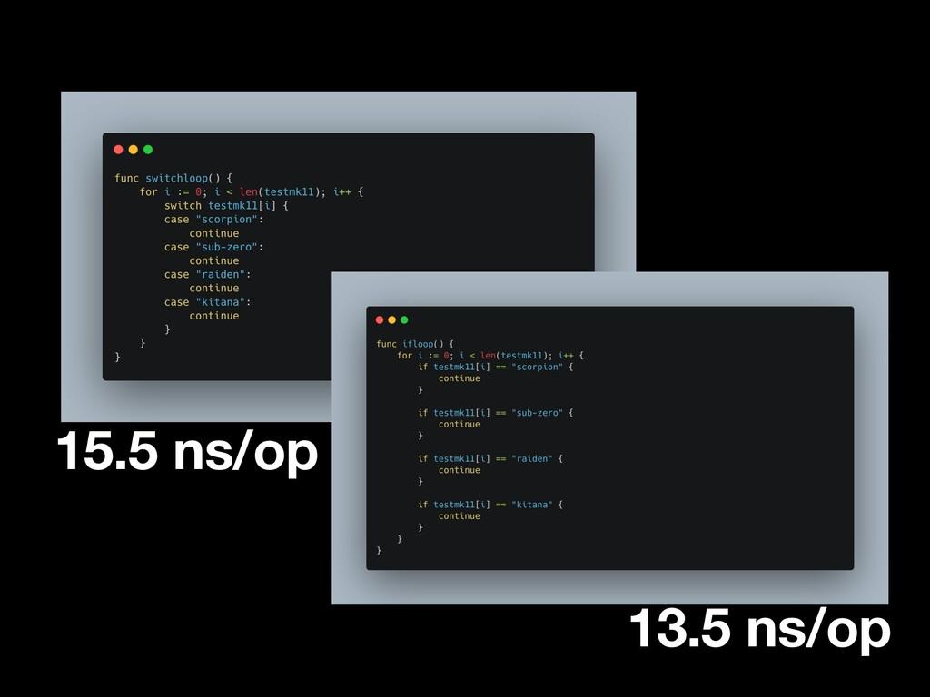 13.5 ns/op 15.5 ns/op