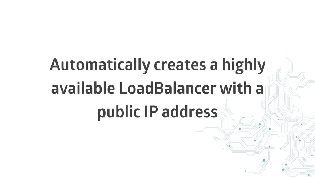 Automatically creates a highly available LoadBa...