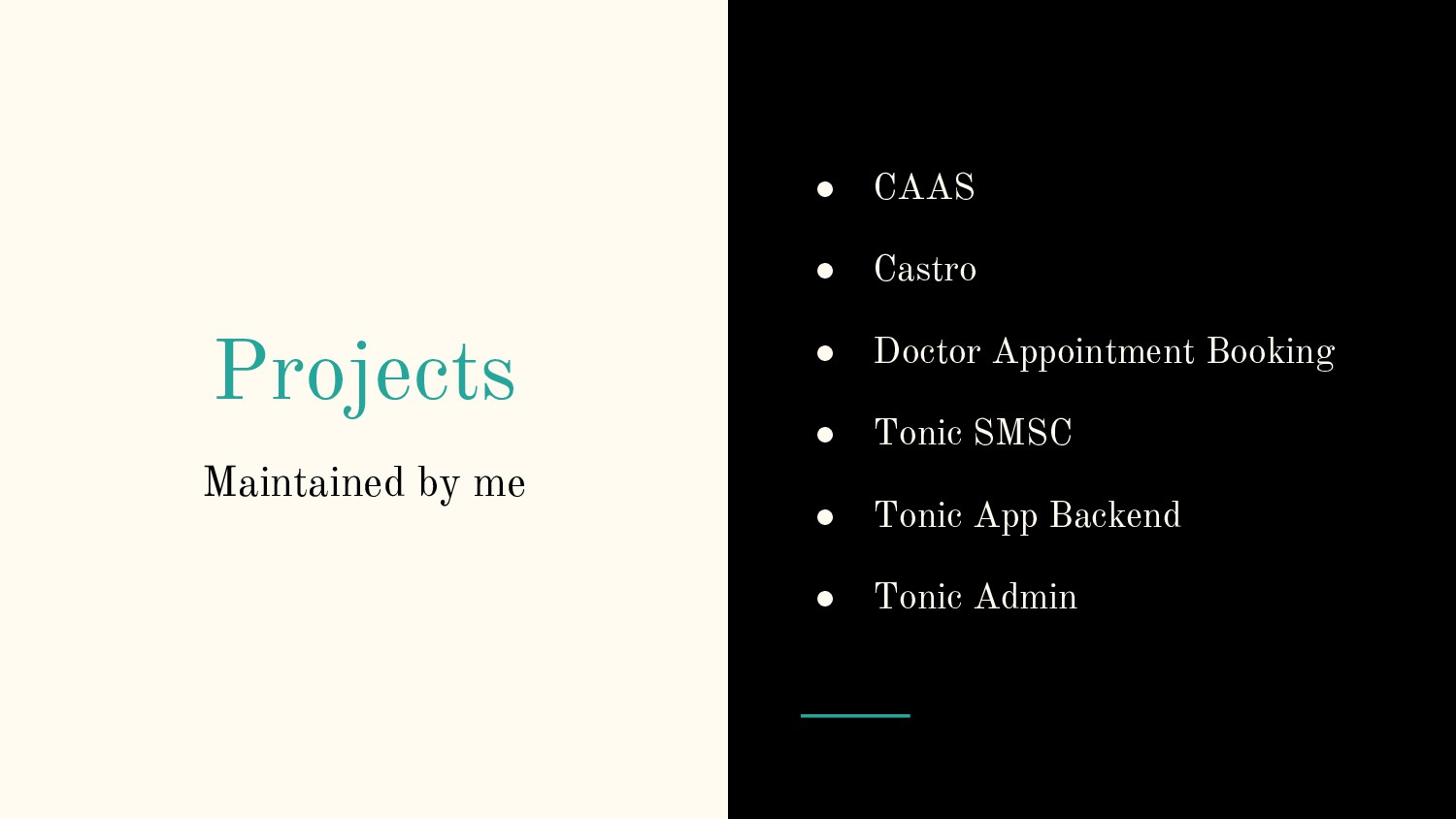 Projects Maintained by me ● CAAS ● Castro ● Doc...
