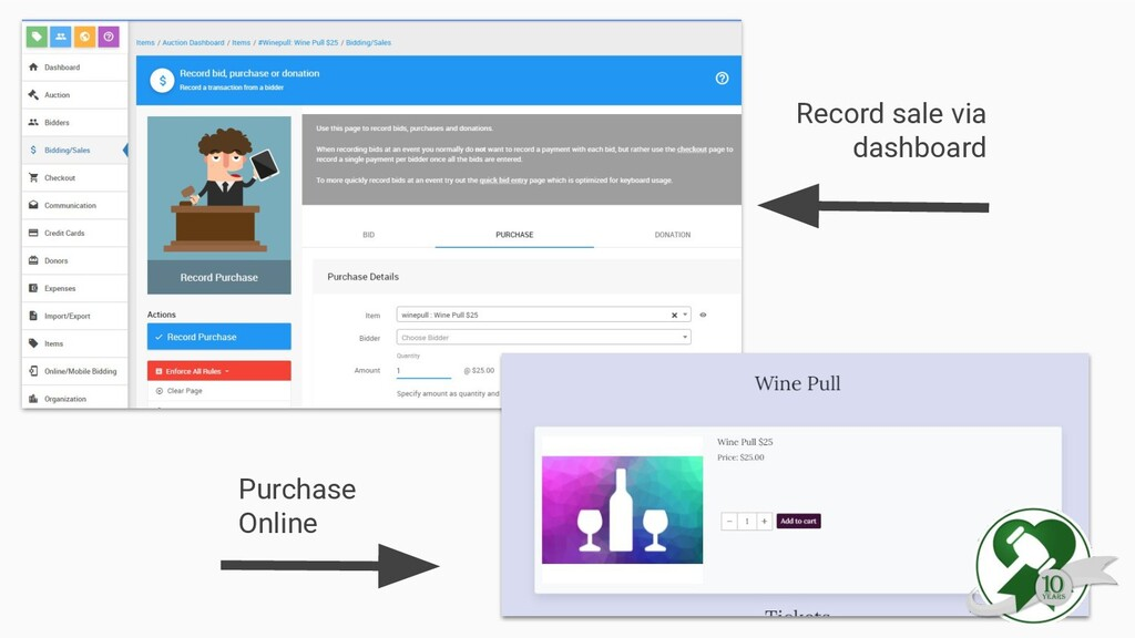 Record sale via dashboard Purchase Online