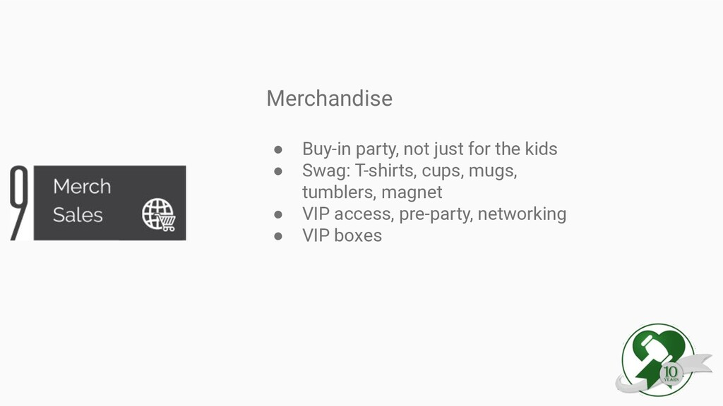 Merchandise ● Buy-in party, not just for the ki...