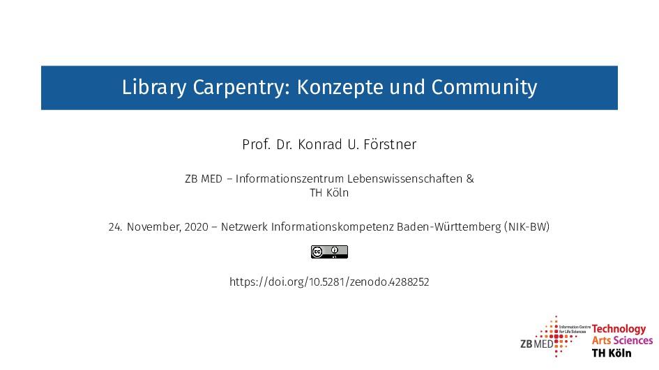 Library Carpentry: Konzepte und Community Prof....