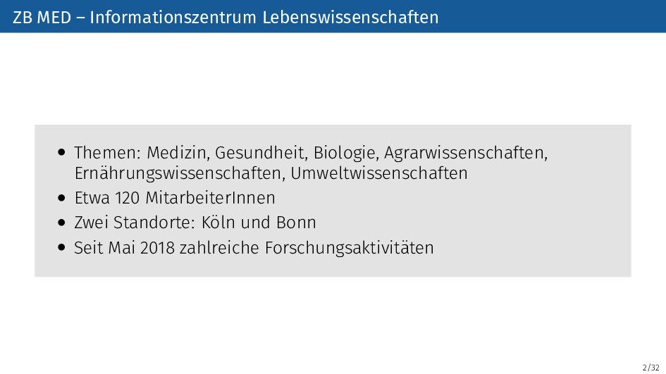 2/32 ZB MED – Informationszentrum Lebenswissens...