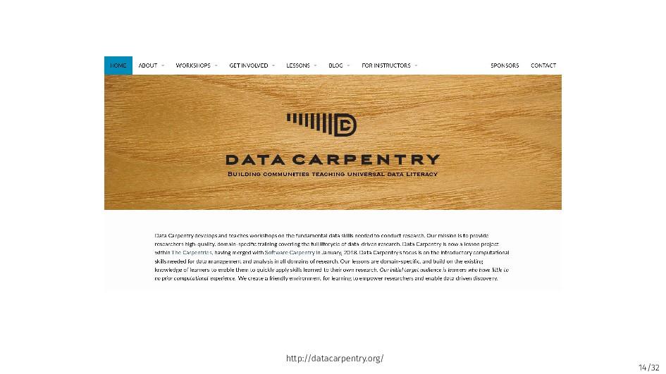 14/32 http://datacarpentry.org/