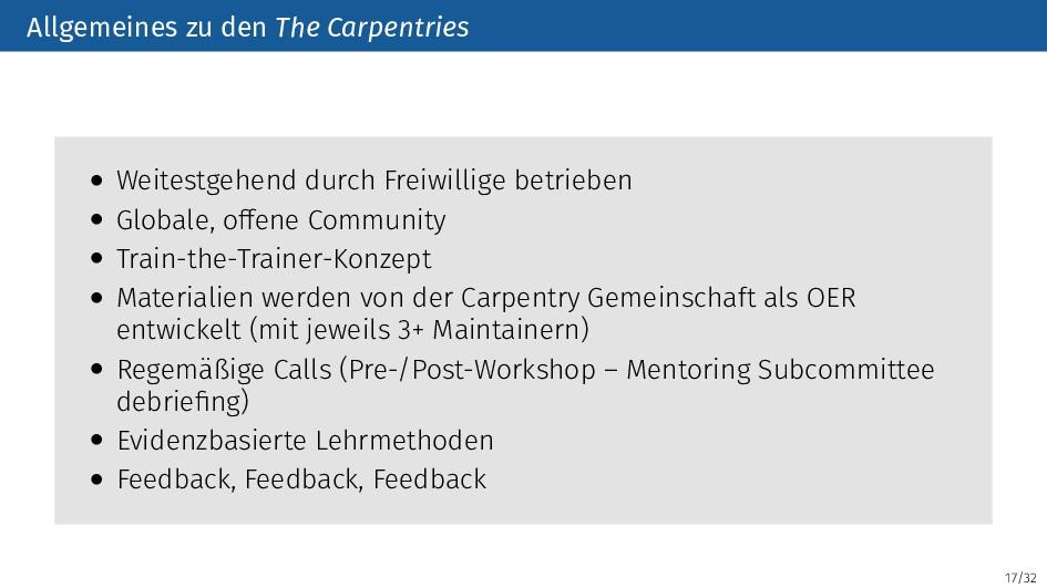 17/32 Allgemeines zu den The Carpentries • Weit...