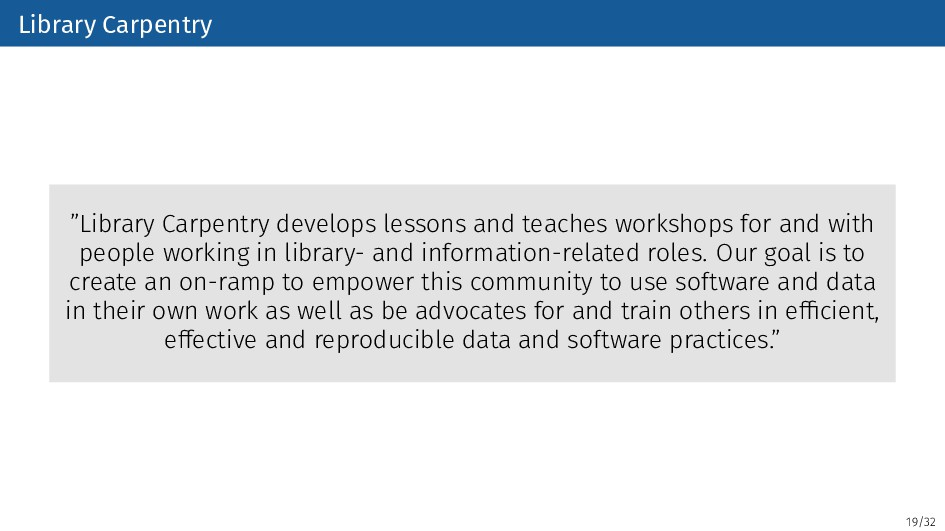 """19/32 Library Carpentry """"Library Carpentry deve..."""