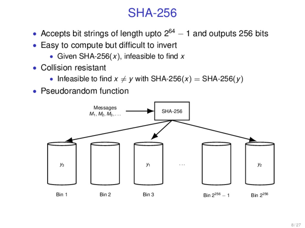 SHA-256 • Accepts bit strings of length upto 26...