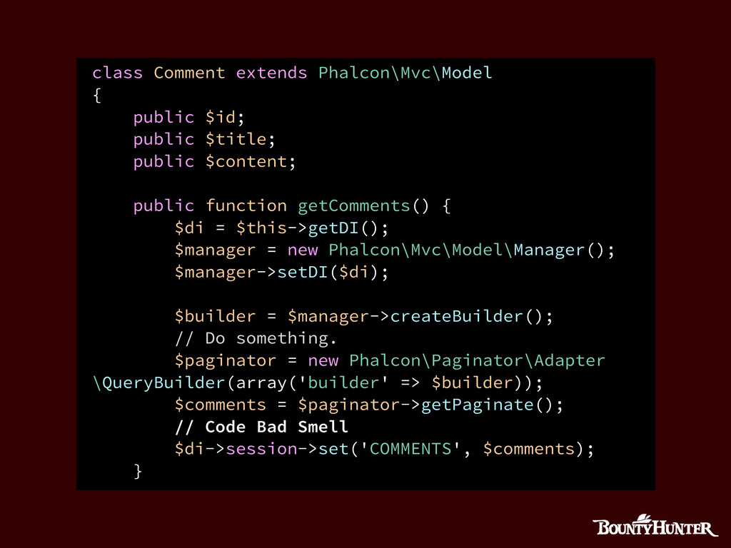 class Comment extends Phalcon\Mvc\Model { publi...