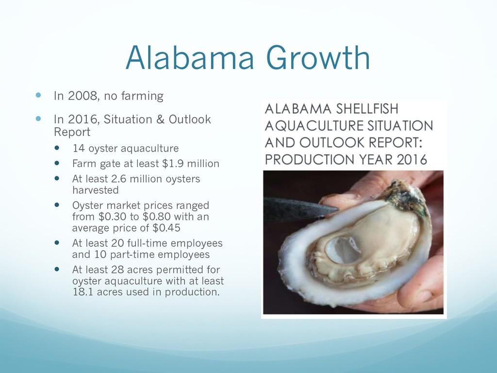 Alabama Growth — In 2008, no farming — In 2016,...
