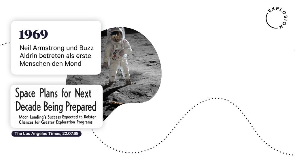 1969 Neil Armstrong und Buzz Aldrin betreten al...