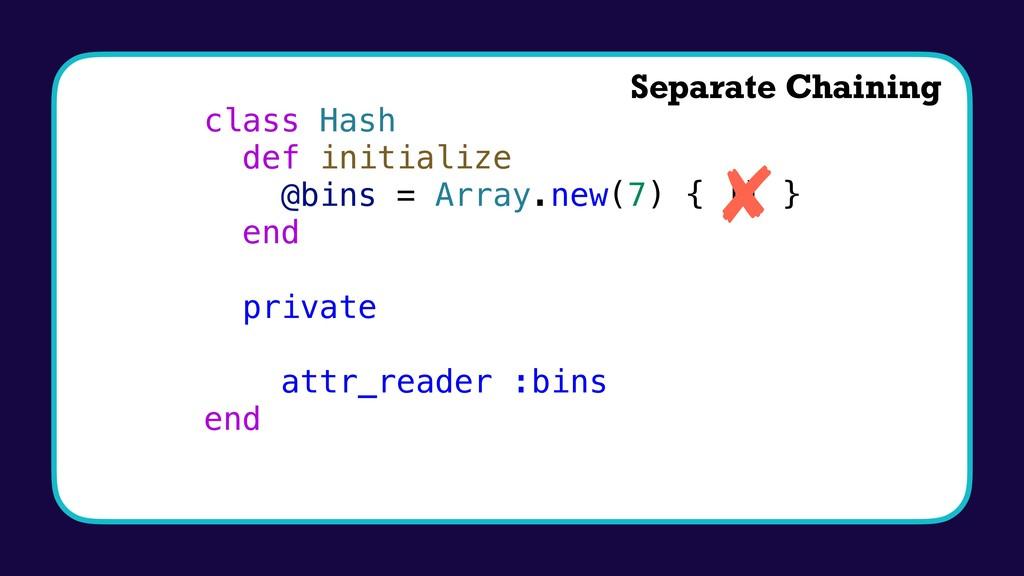 class Hash def initialize @bins = Array.new(7) ...