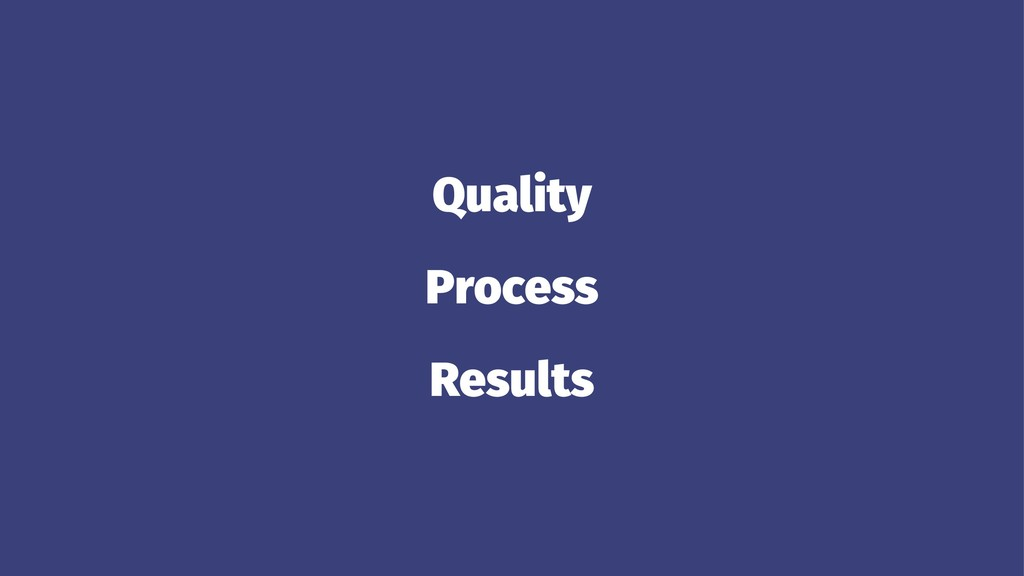 Quality Process Results