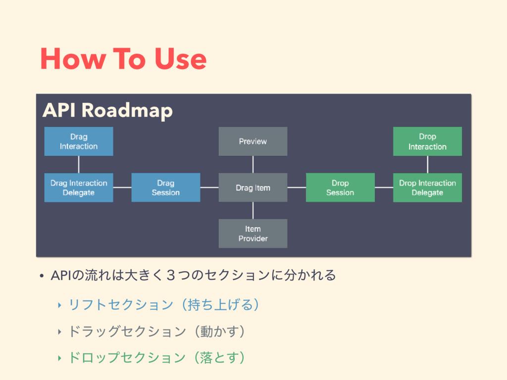 How To Use • APIͷྲྀΕେ͖̏ͭ͘ͷηΫγϣϯʹ͔ΕΔ ‣ ϦϑτηΫγϣϯ...