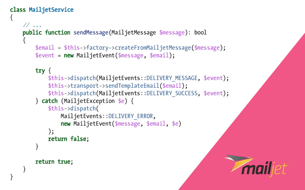 class MailjetService { // ... public function s...