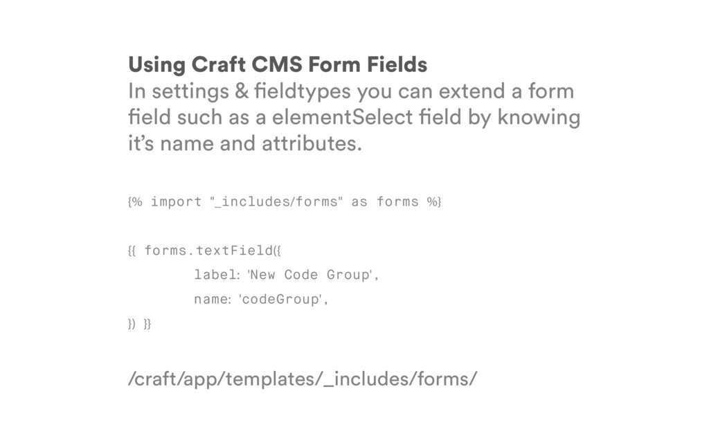 Using Craft CMS Form Fields In settings & eldty...