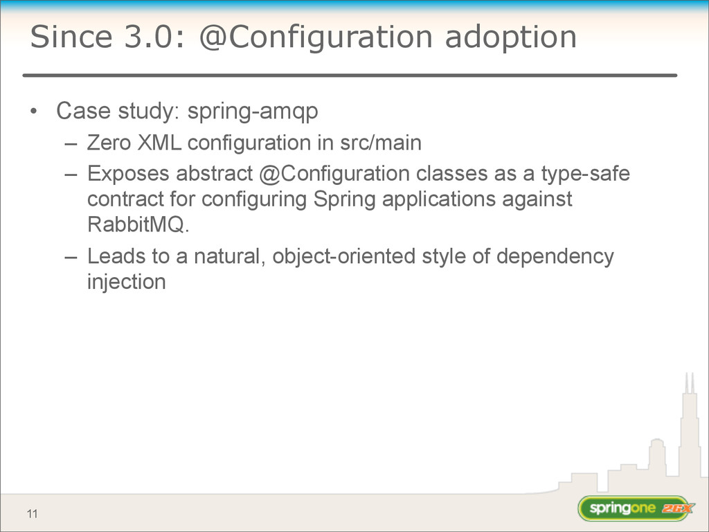 Since 3.0: @Configuration adoption • Case study...